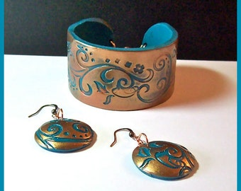 Cuff Bracelet Polymer Clay Copper and Turquoise 1 1/2 in wide Swirl Design