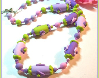 Summer Fun Polymer Clay Applique Handcrafted Necklace 22 in. Each Bead Individually Created in Pretty Pastels Summer Necklace Plus Bracelet