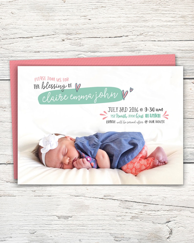 Baby Blessing Invitation Lds Etsy