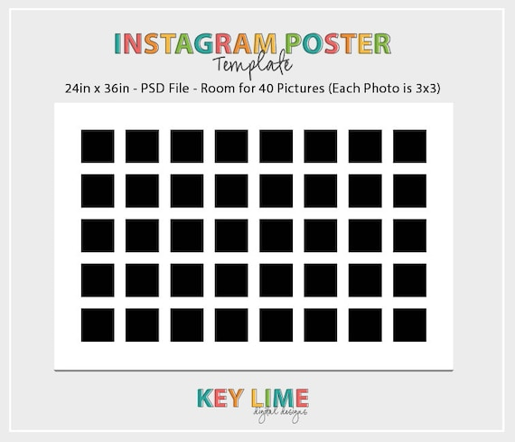 Instagram Poster Template 24x36 Photoshop PSD