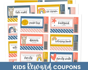 Reward Coupon, Kid Coupon, Digital Coupon for Kid, Kid Coupon Book, Printable Kids Reward Coupons