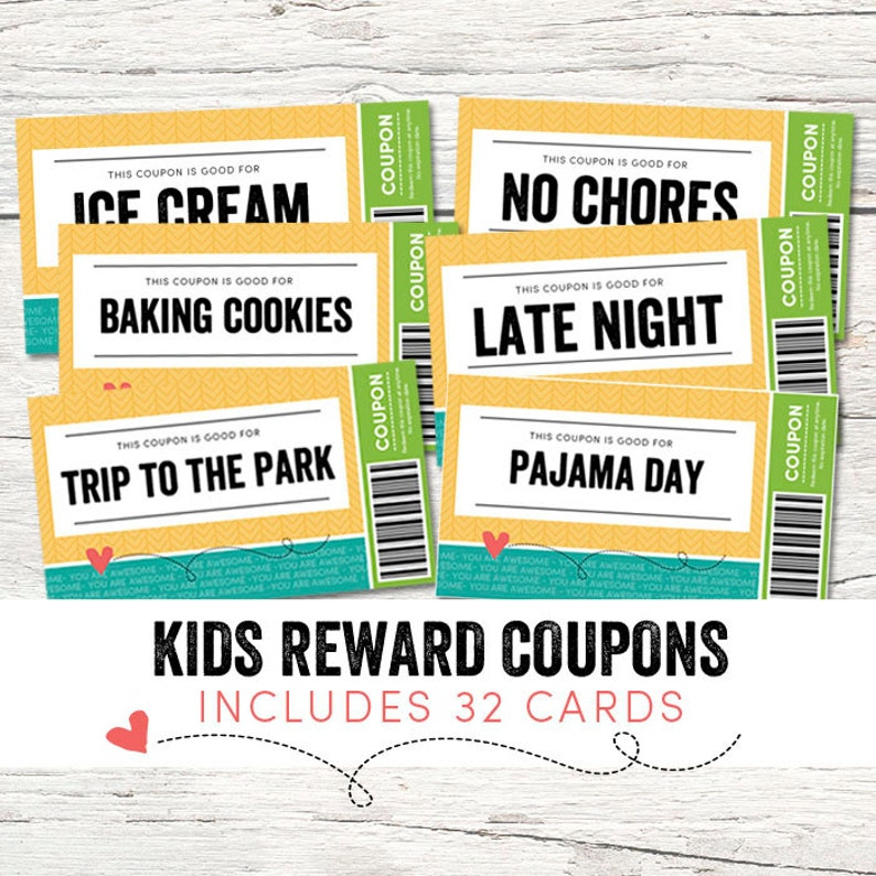 picture about Printable Intimate Love Coupons called Little ones Benefit Discount coupons - Take pleasure in Discount coupons - Immediate Down load - Printable