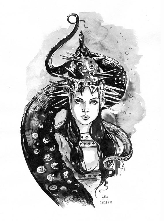 Uxia, DAGON | Original Ink Drawing