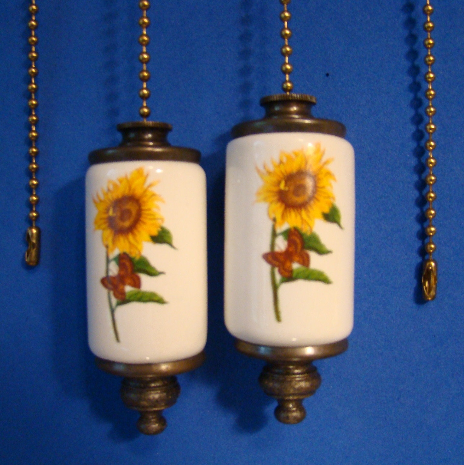 Sunflower Fan Amp Light Ceiling Fan Pull Chain Antique Brass