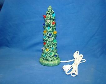 Handmade ceramic Christmas tree 11 inch high. GREEN color