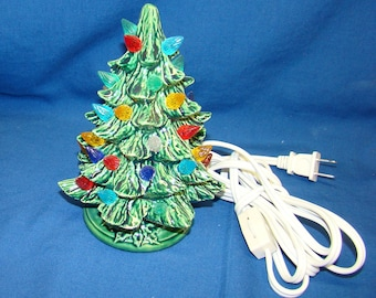 7 inch GREEN ceramic Christmas tree ,handmade,with electric light