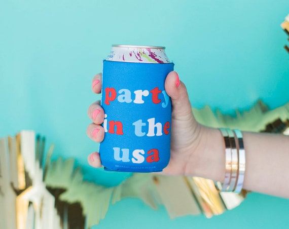 USA 4th of July, Foam Can Cooler, 'Merica Stars Stripes, Party In The USA, Memorial Day Coozie, United States America, Independence Red Blue