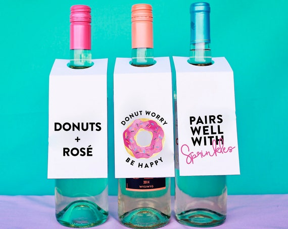 Wine Tags, Funny Wine Lover Gift, Girls Night In Wine, National Donut Day Decor, Donut Lover Gift, Gift For Her, Punny Wine Gift, Sprinkles