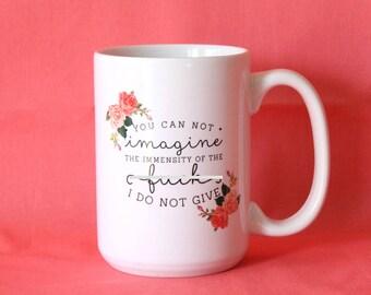 Ceramic Mug, Funny Mug, Zero F#cks Given, Typography Mug, Zero Fox Given, Watercolor Mug, Gift For BFF, Gift For Her, Gifts Under 20, Coffee
