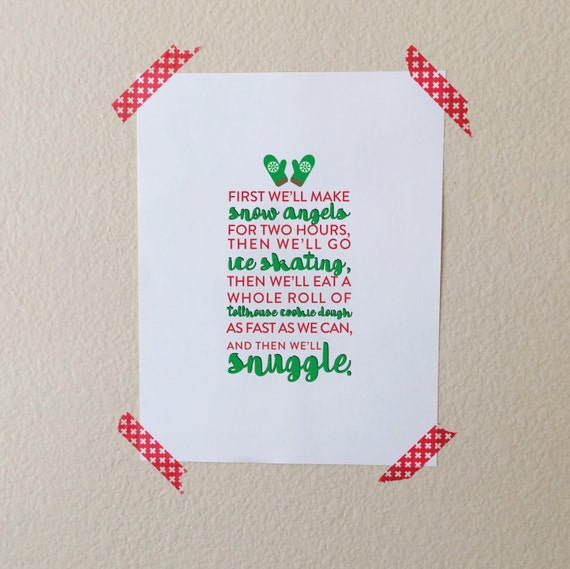 Christmas Quote Print, Christmas Printable Art, Snow Angels, Ice Skating, Snuggle Art Print, Elf Quote Art Print