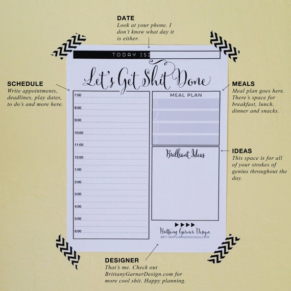 Daily Planner, Get Sh!t Done, Digital Download, Printable Planner