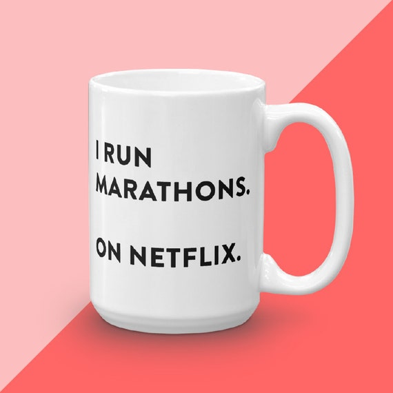 Netflix and Chill, Netflix Marathon Runner, Housewarming Gift For TV Lover, Gift Under 25, Funny Mug With Quotes, Netflix Gift For Couple