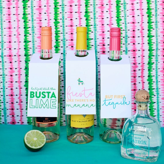 Fiesta Printable Party Decor, But First Tequila, Cinco de Mayo Decor, Wine Tags Printables, Margaritas, Fiesta Like Theres No Manana, Wine
