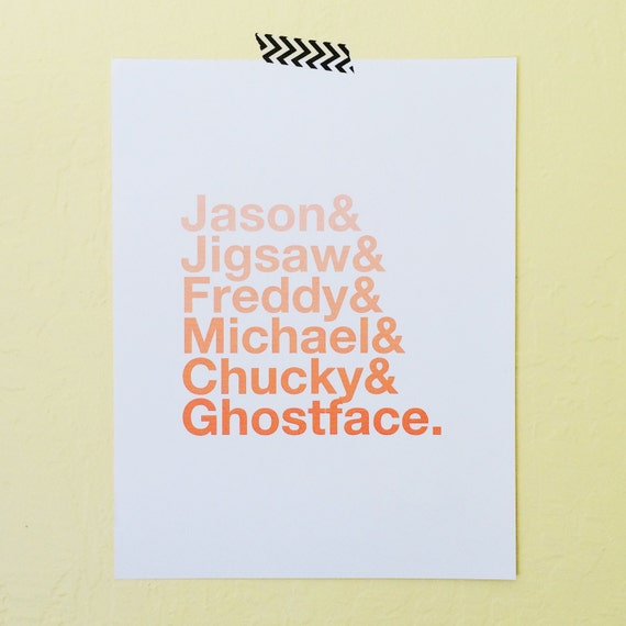 Holiday Art, Halloween Villain Art Print, Holiday Digital Download, Halloween Movie Art Print Poster, Ombre Orange Art