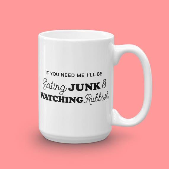 Holiday Mug, Home Alone Christmas Coffee Mug, Funny Mug Unique Coffee Gift, Eating Junk Watching Rubbish, Christmas Lover Gift, Gift For Her