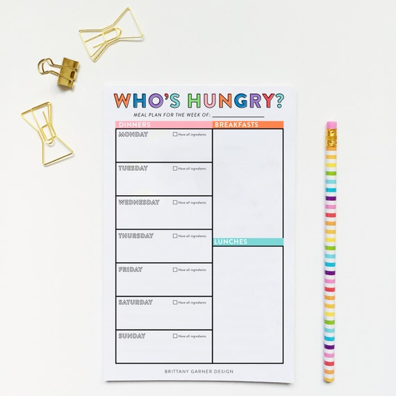 Weekly Meal Planner, Meal Planner, Meal Planning Printable, Digital Download Planner, Grocery List, Meal Prep, Organization Printable, Lists