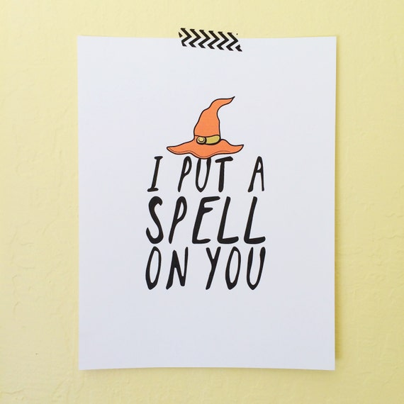 I Put A Spell On You, Halloween Art Print, Digital Download For Halloween, Hocus Pocus Art Print, Halloween Decorations