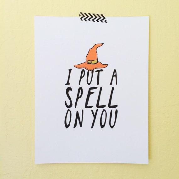 I Put A Spell On You, Halloween Art Print, Digital Download For Halloween, Hocus Pocus Art Print, Halloween Decorations