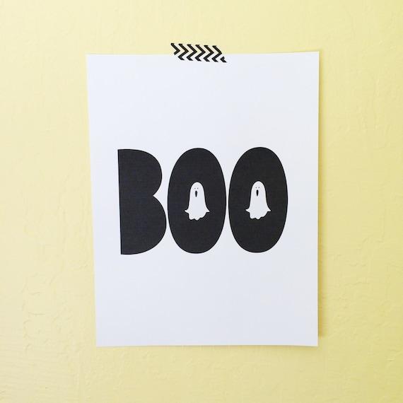Halloween Printable Art Print, Halloween Art Print, Digital Download, Holiday Artwork, Boo Ghost Printable, Happy Halloween