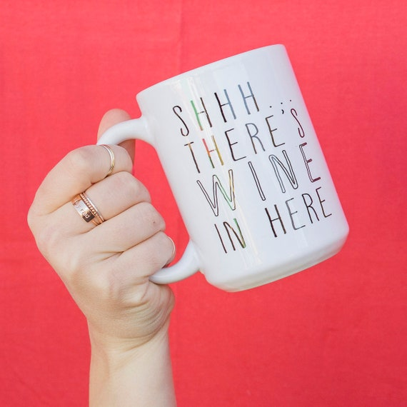 Gift Mom, Coffee Cup, The ORIGINAL Wine Mug, Gift For Mom, Gift For Her, Ceramic Mug, Theres Wine In Here, Hostess Gift, Funny Wine Mug