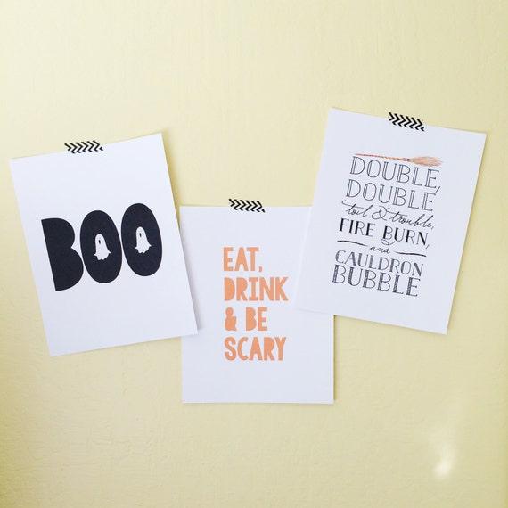 Halloween Decor, Halloween Printables, Halloween 3-Pack Art Prints, Digital Download, Fall Art, Halloween Art Print, Discount Prints
