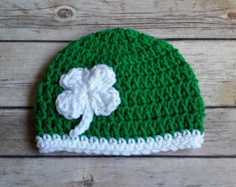 5156b0dc41c Luck of the irish shamrock st patricks day hat beanie green white newborn  baby infant child adult fast shipping march madness 4 leaf clover