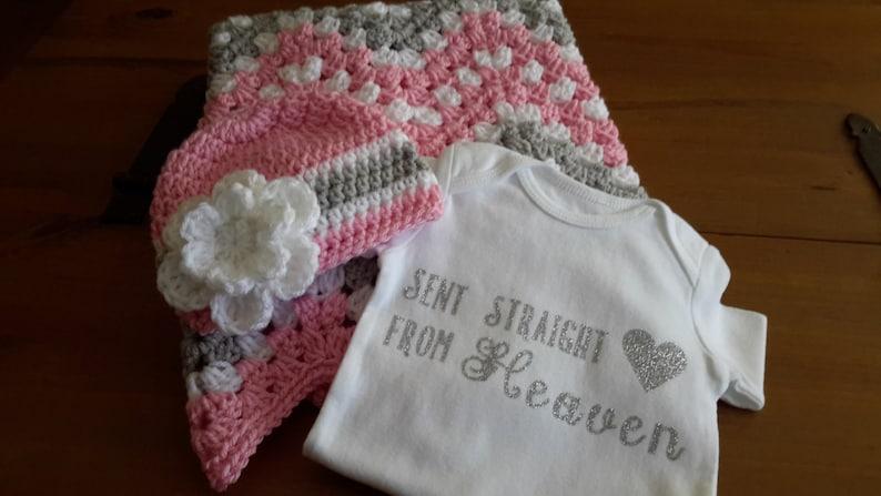 READY TO SHIP Crochet baby girl blanket  Chevron Baby Girl Blanket  Baby Pram BlanketNursery Blanket