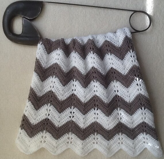 Gray Chevron Ripple Baby Blanket Baby Afghan Crochet Grey And Etsy