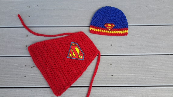 1255c32a Superman hat beanie photo prop hero blue yellow red fast | Etsy