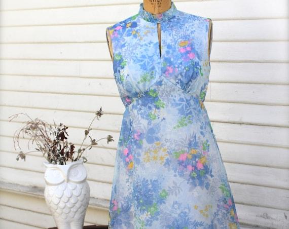 60's Sheer Floral Midi Dress, Keyhole Neckline, High Mandarin Collar, Sleeveless Sundress, Empire Waist, Blue Pink, Bridesmaid, Small Medium