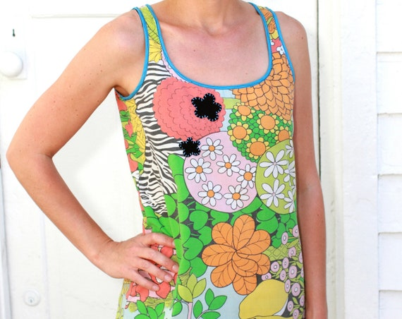 Vintage Flower and Animal Print Women's Tank Top, Small/Medium, Upcycled Blouse, Re-purposed, Vintage Pillowcase, OOAK