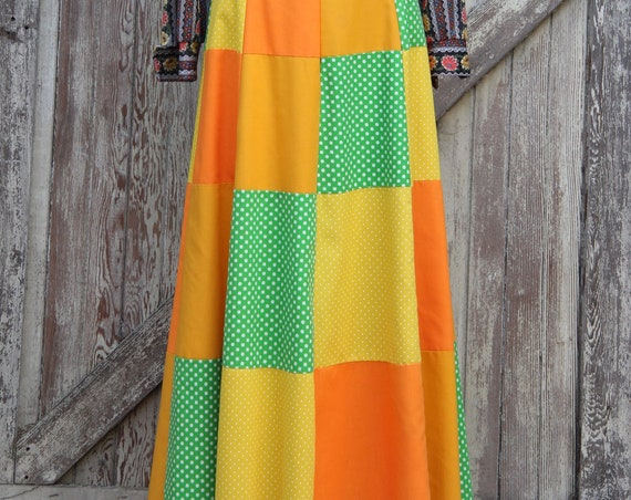 Vintage Patchwork Maxi Skirt, Rare Gisella Heinemann, Hippie Skirt, 1960's Full Length Skirt, Polka Dots, Orange Green Yellow, Hippie Chic