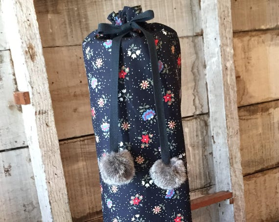 Yoga Mat Bag, Limited Edition, Vintage Fabric, Extra Wide Strap, Drawstring with Pompoms, Eco-Friendly, Handmade, Deviant Yogi