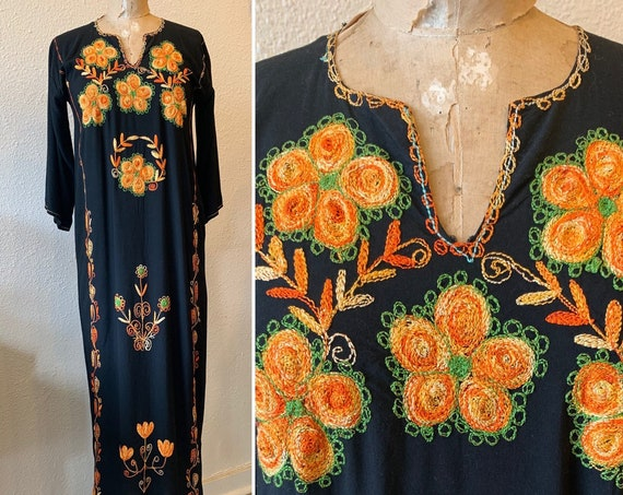 Vintage 1970's Black Kaftan Dress, Hand Embroidered Orange Flowers, Boho Maxi Dress, Indian Dress, Size Small