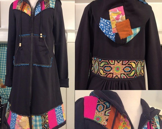 PRICE REDUCED: Upcycled Prairie Underground Hoodie Coat, Patchwork Jacket, Long Hoodie with Vintage Fabric Patchwork Design, Gray, One-of-a-