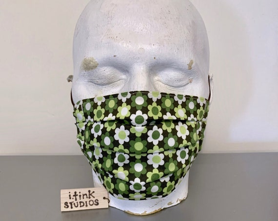 """Flower Power Army"" Cotton Fabric Face Mask"