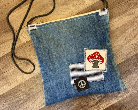 Ms Merry Mushroom, Denim Crossbody Purse with Hand-stamped patches by i.Tink Studios, one-of-a-kind satchel from repurposed materials