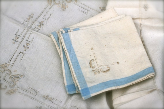 Vintage 1940's Tablecloth and Cloth Napkins, Embroidered, Tea Towel, Off-White, Baby Blue, Picnic Set, Tea Time, Grandmother's Linens