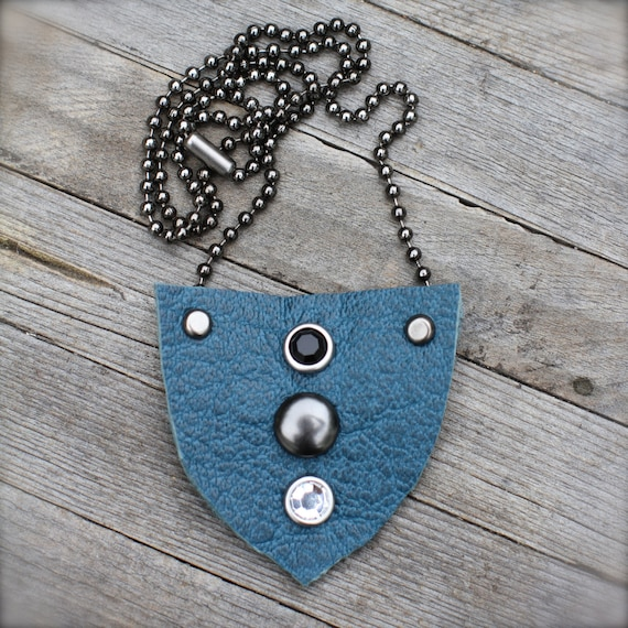 Blue Leather Shield Pendant Necklace, Textured Leather Pendant on Gun Metal Ball Chain, Rhinestone Studs, OOAK, Eco-Friendly