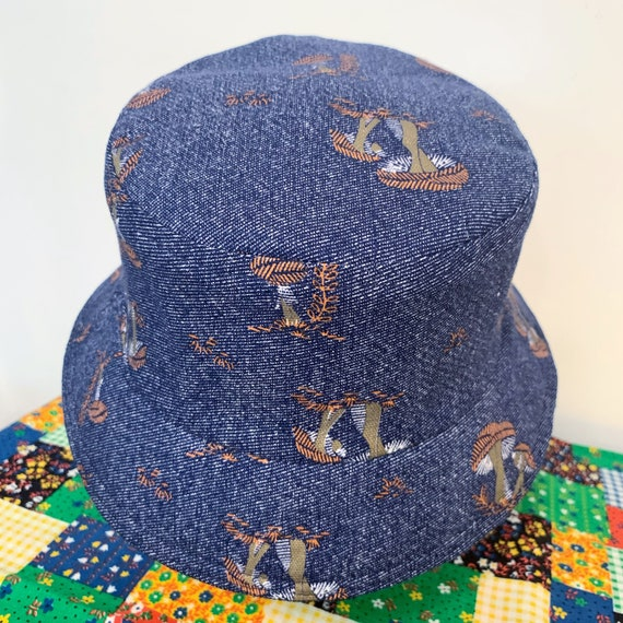 i.Tink Reversible Bucket Hat in Vintage MUshroom Print and Hemp Denim, Custom Made to Order, Sizes X-Small, Small, Medium and Large