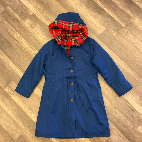 1970's Kids Size 8, Blue Hooded Winter Coat, Red Plaid Lining, Girls Vintage Jacket