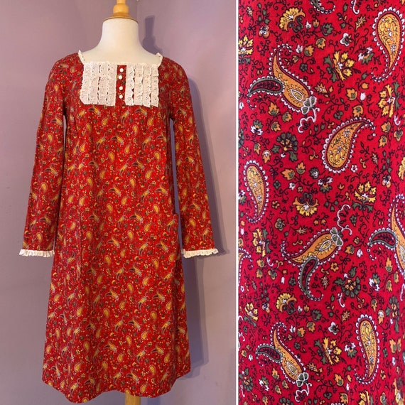 1960's Young Edwardian, Red Paisley Cotton Dress, tent style, knee length, Small