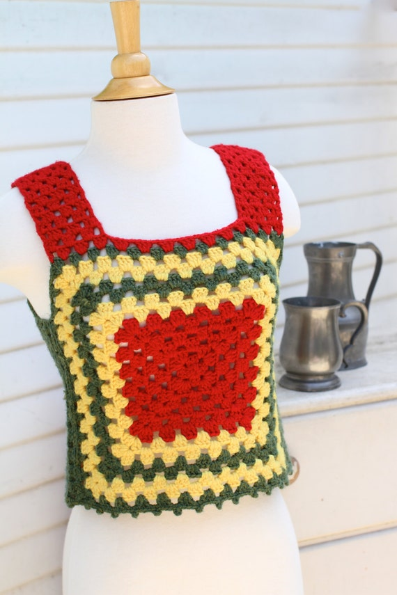 Dreadlock Rasta Tank, Granny Square Top, Red Yello