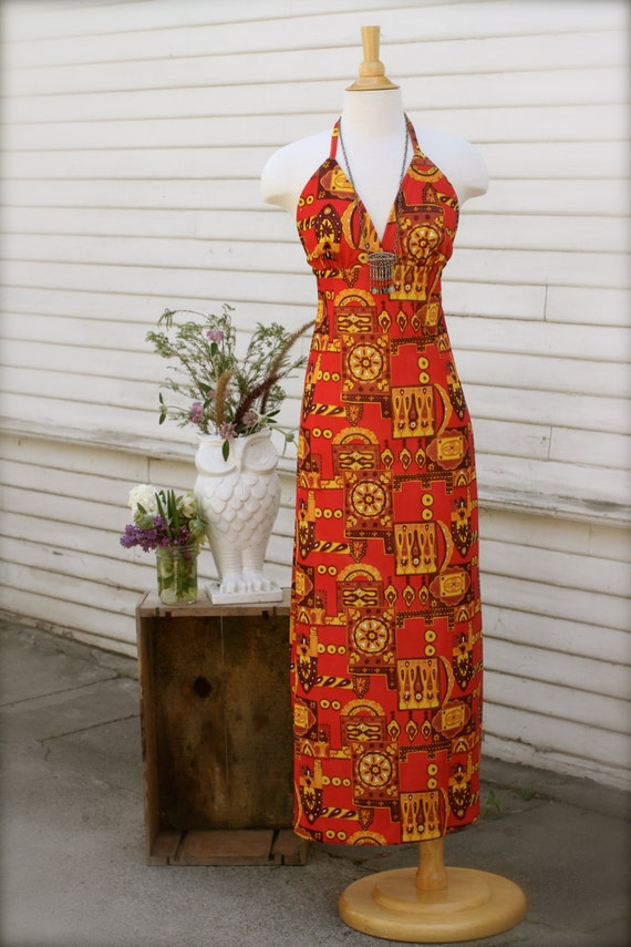 Acapulco Halter Maxi Dress, Psychedelic Print, Coral Red, Brown, Yellow, Vintage 60's/70's Hawaiian Dress, Floral Patchwork Print, Small