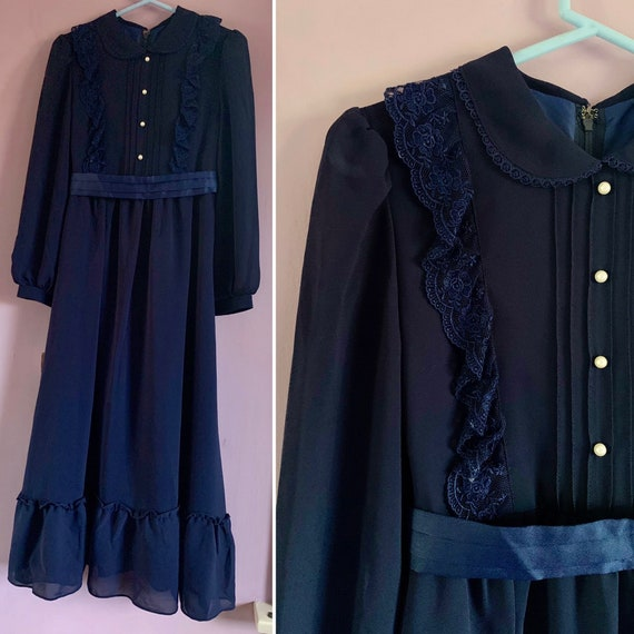 Girls' Vintage Prairie Maxi Dress, Navy Blue, Size 7-9 years?, Little House on the Prairie Dress, Made in Tokyo, Japan