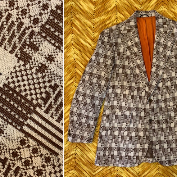 Vintage 1960's Men's Polyester Sportcoat, Brown Patchwork Print, Orange Lining, Montgomery Ward, Size Small or Medium