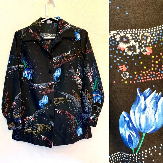 1960's Womens' Black Floral Blouse, Long Sleeves, Button-Up, Camp Collar Shirt, Psychedelic Mod, by Pykettes, Medium
