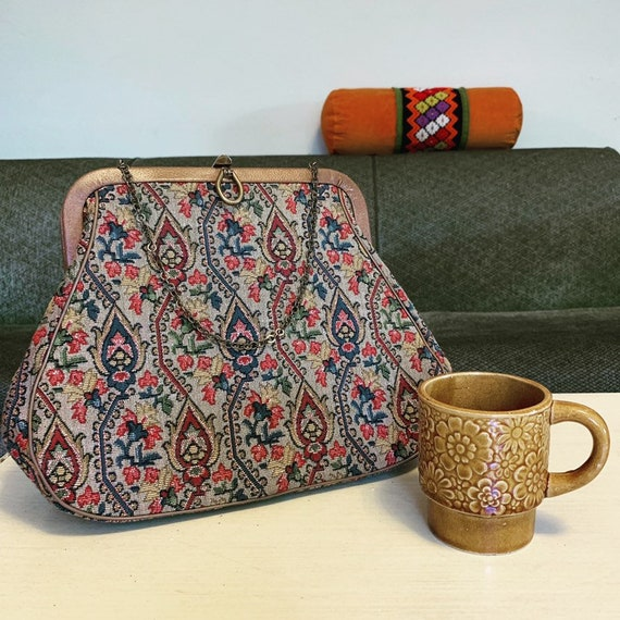 1960's Tapestry Purse, Handbag, Chain Strap, Empress Bags, Made in USA
