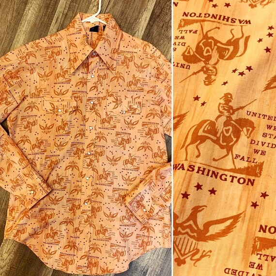 "1970's Vintage Mens' ""Hands Off"" Western Shirt, George Washington Novelty Print, Long Sleeve, Pearl Snaps, Sears Size Tall Large"