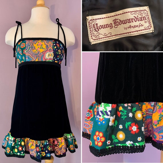 Vintage Velvet Patchwork Mini Dress, 1960's Mini,